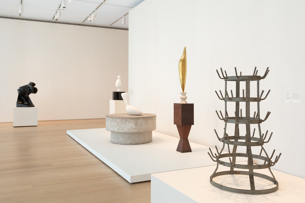 Installation view of Marcel Duchamp's  Bottle Rack  (1914/1959, signed 1960) in Gallery 395. Courtesy of the Art Institute of Chicago.