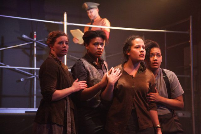 (Left to right)  Alexis Randolph ,  Jessica Dean Turner ,  Alys Dickerson  and  Kyla Norton  with (back)  Simon Hedger  in  Haven Theatre's   FEAR AND MISERY IN THE THIRD REICH . Photo by Emily Schwartz.