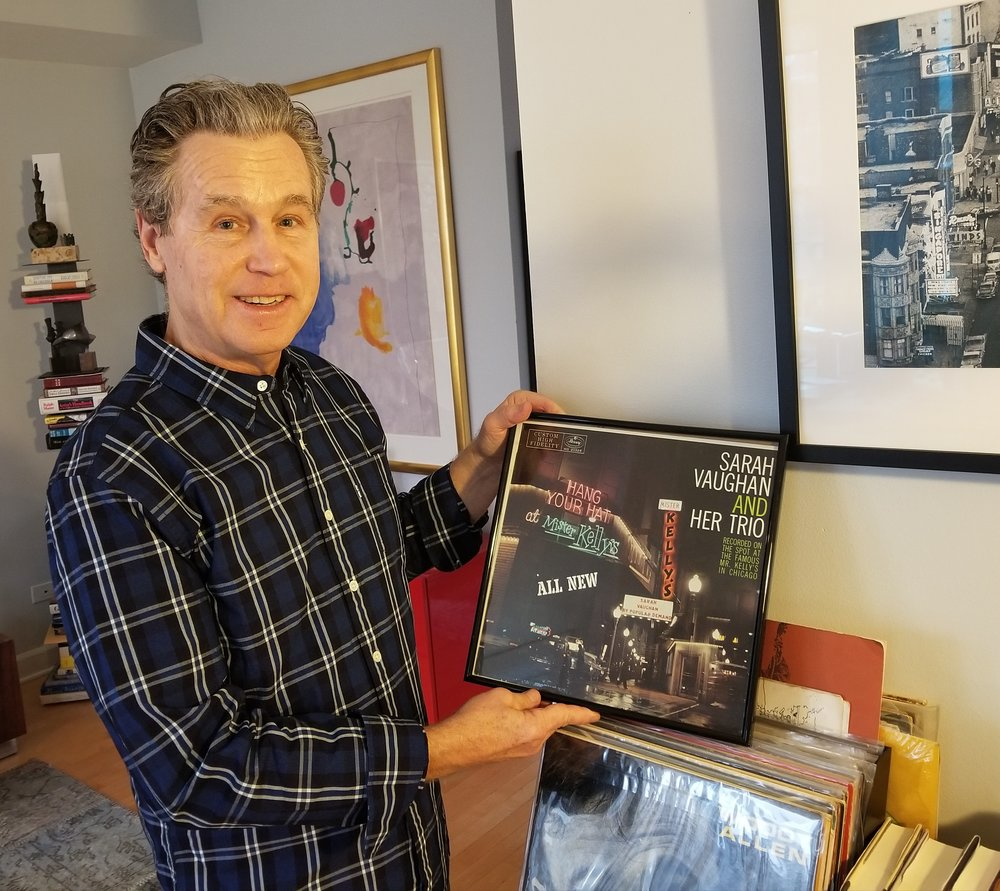 David Marienthal holding Sarah Vaughan live album recorded at Mister Kelly's