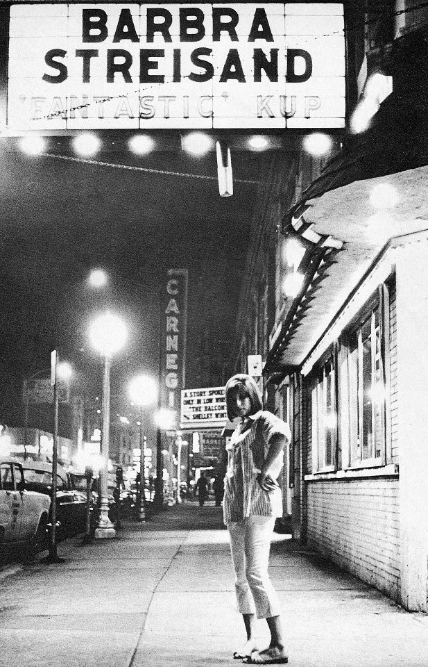 Barbara Streisand in front of Mister Kelly's