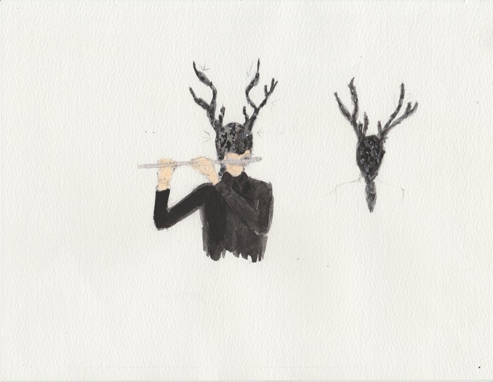 Painting of the Stag character that will be portrayed flutist Tim Munro