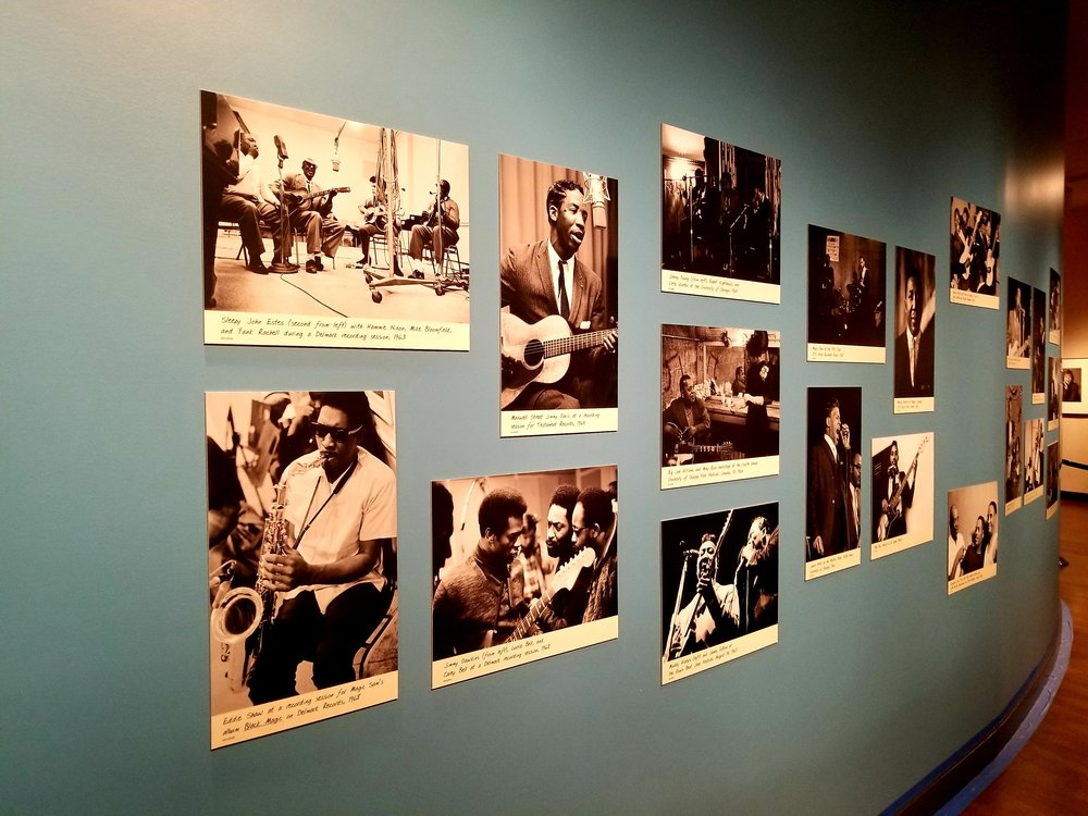 Photos taken by Raeburn Flerlage line the walls of AMPLIFIED: CHICAGO BLUES