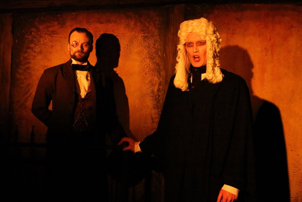 Kevin Webb as Beadle Bamford and John B. Leen as Judge Turpin. Photo Credit: Cody Jolly