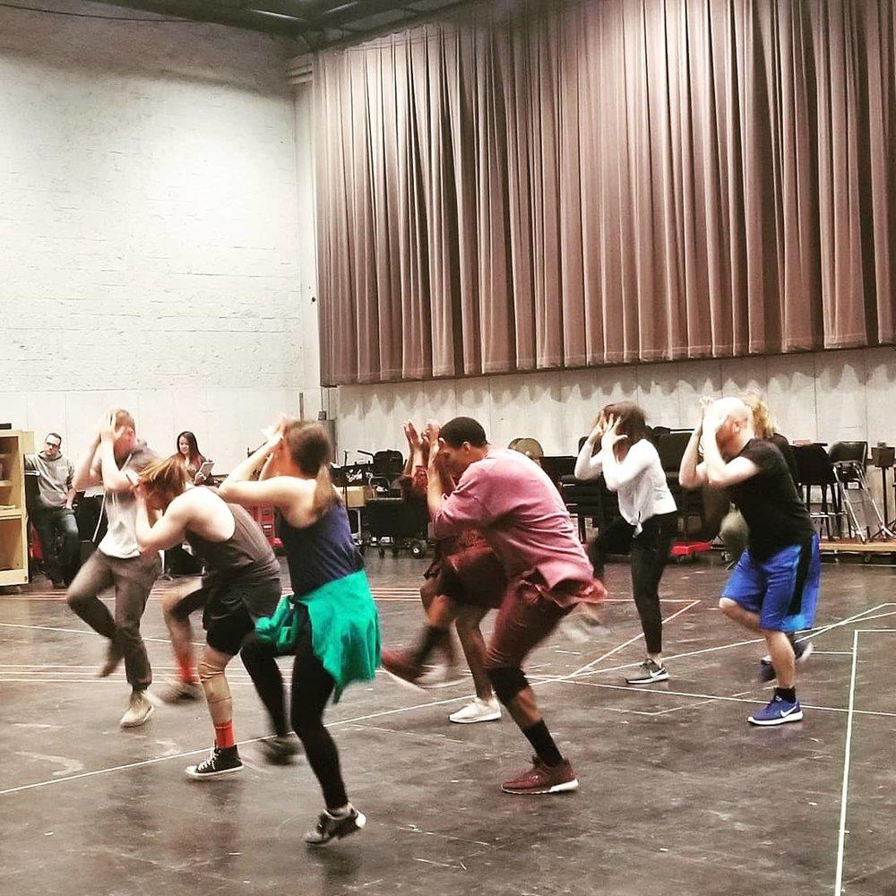 Cast members rehearsing Lyric Opera's new production of JESUS CHRIST SUPERSTAR