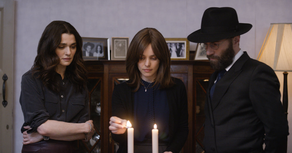 DISOBEDIENCE stars (left to right) Rachel Weisz, Rachel McAdams, & Alessandro Nivola