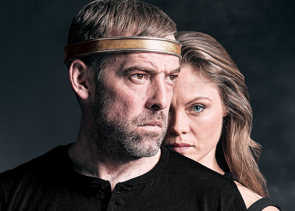 Ian Merrill Peakes is Macbeth and Chaon Cross is Lady Macbeth in Chicago Shakespeare Theater's production of  Macbeth.  Photo by Jeff Sciortino.