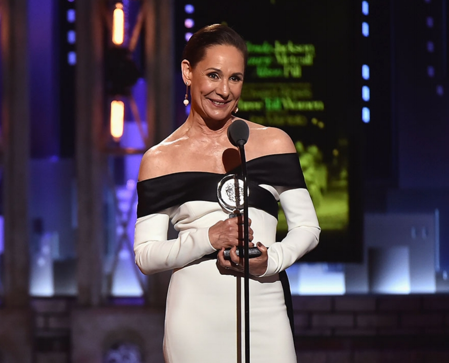 Laurie Metcalf accepting her Tony Award for performance in THREE TALL WOMEN.