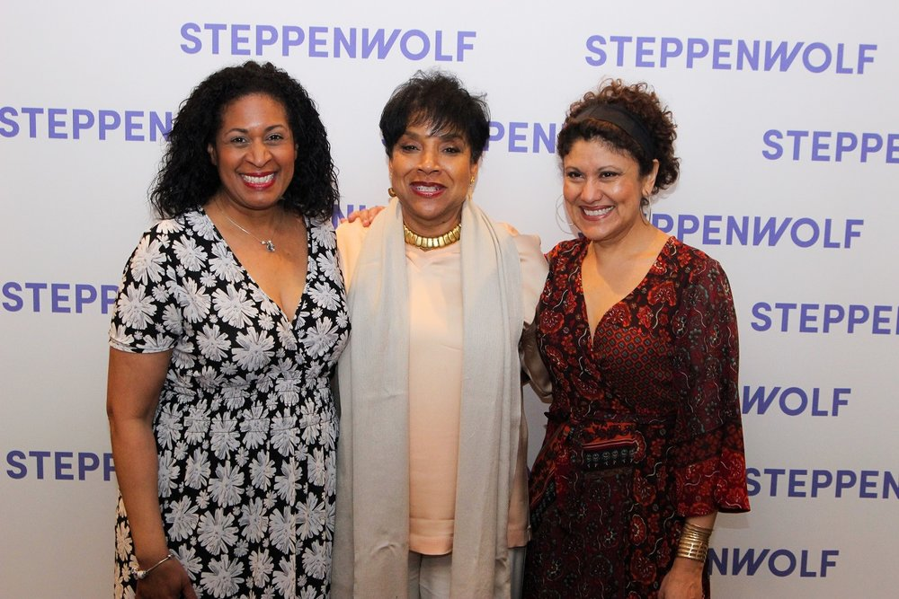 Left to Right: Steppenwolf ensemble member Ora Jones, director  Phylicia Rashad, and  ensemble member  Sandra Marquez  at opening night. Image courtesy of Steppenwolf.