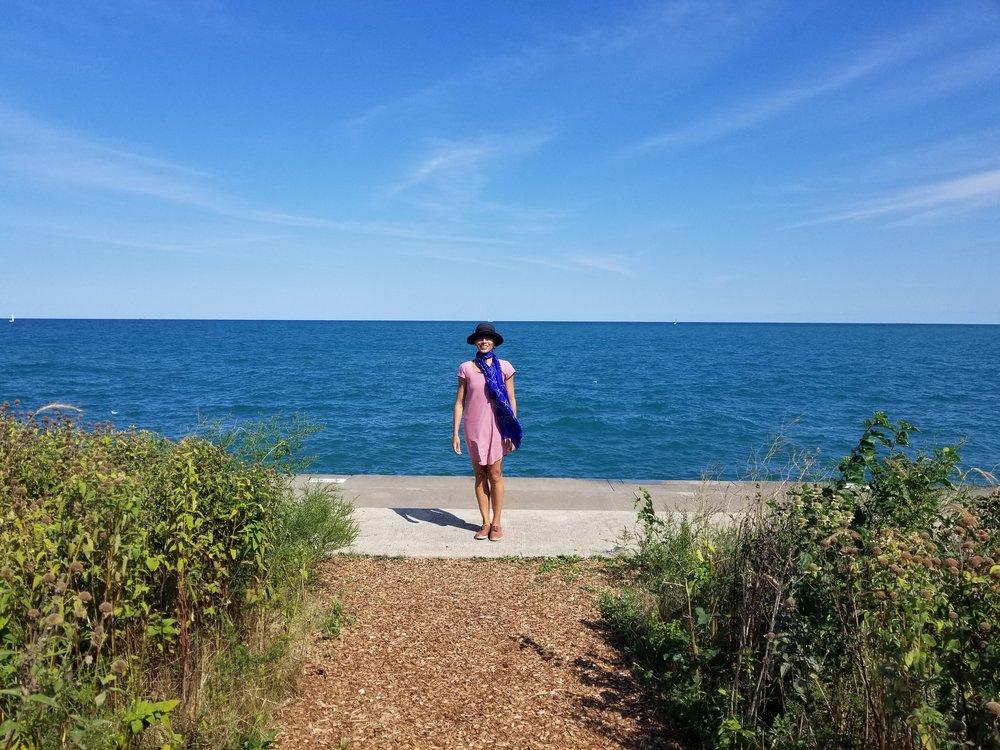 Nejla Yatkin in front of Lake Michigan