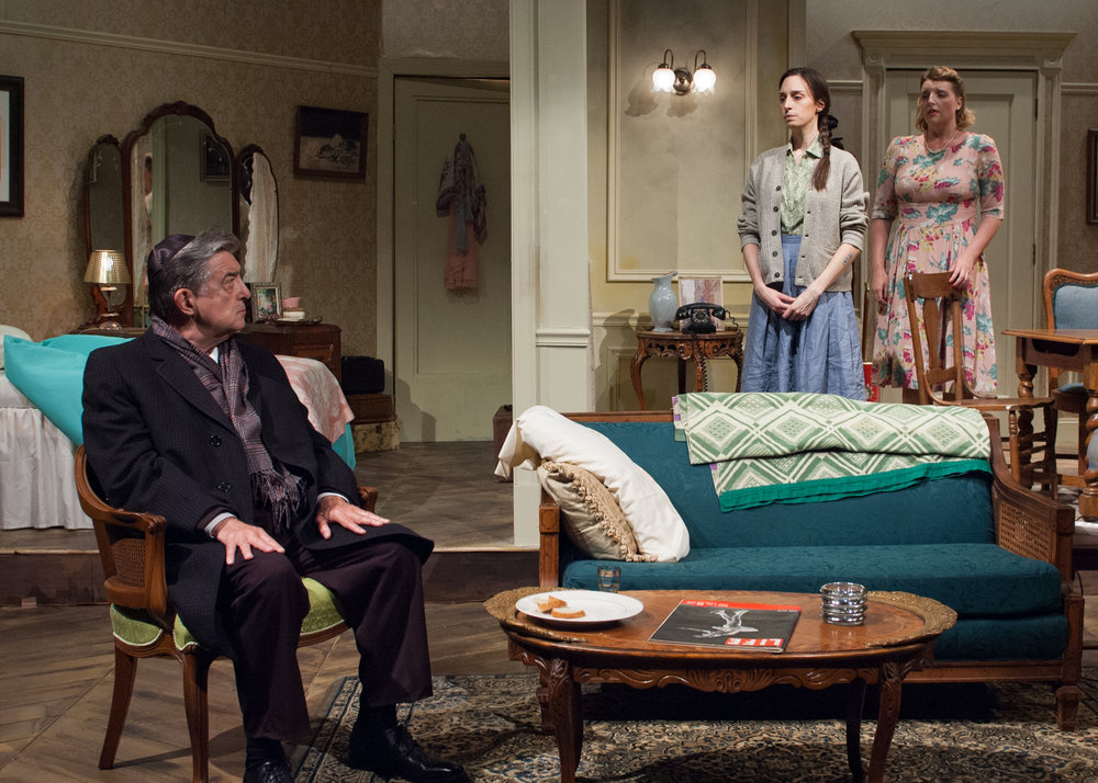 Emily Berman (center), Bri Sudia (right) and Charles Stransky (left) in Timeline Theatre's production of A SHAYNA MAIDEL.