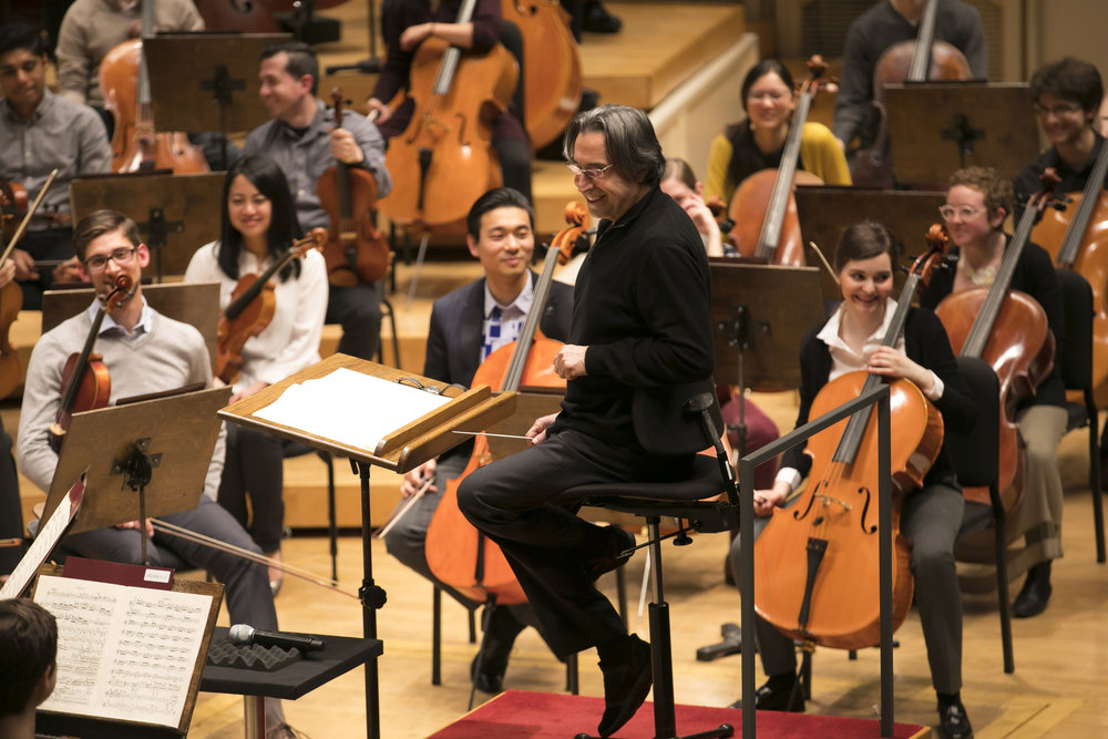 CSO music director Riccardo Muti working with the Civic Orchestra of Chicago. Image courtesy of the Chicago Symphony Orchestra.
