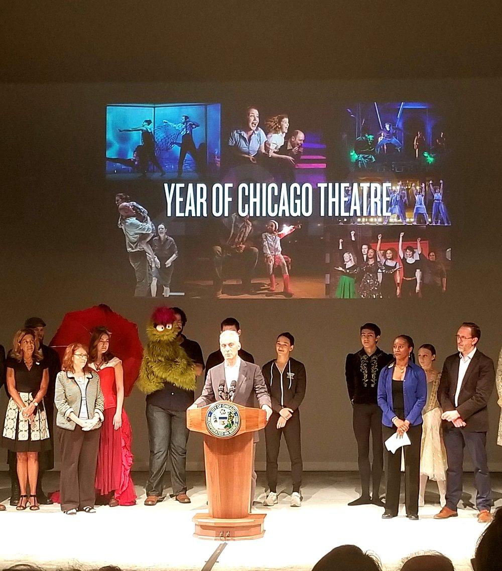 Chicago Mayor Rahm Emanuel talking about Chicago's theatre community