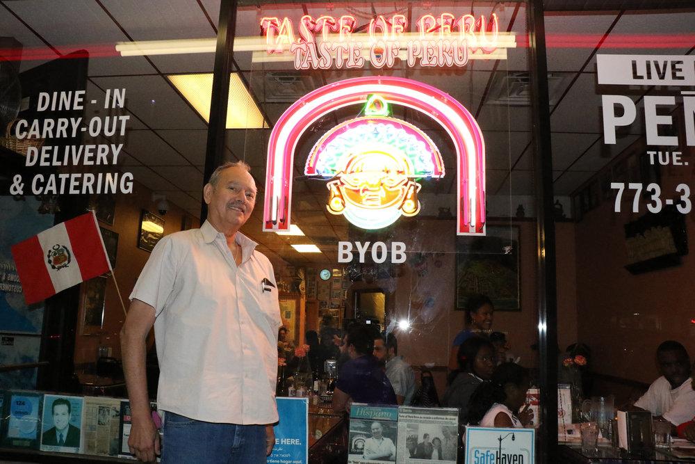 Cesar Izquierdo in front of his restaurant Taste of Peru