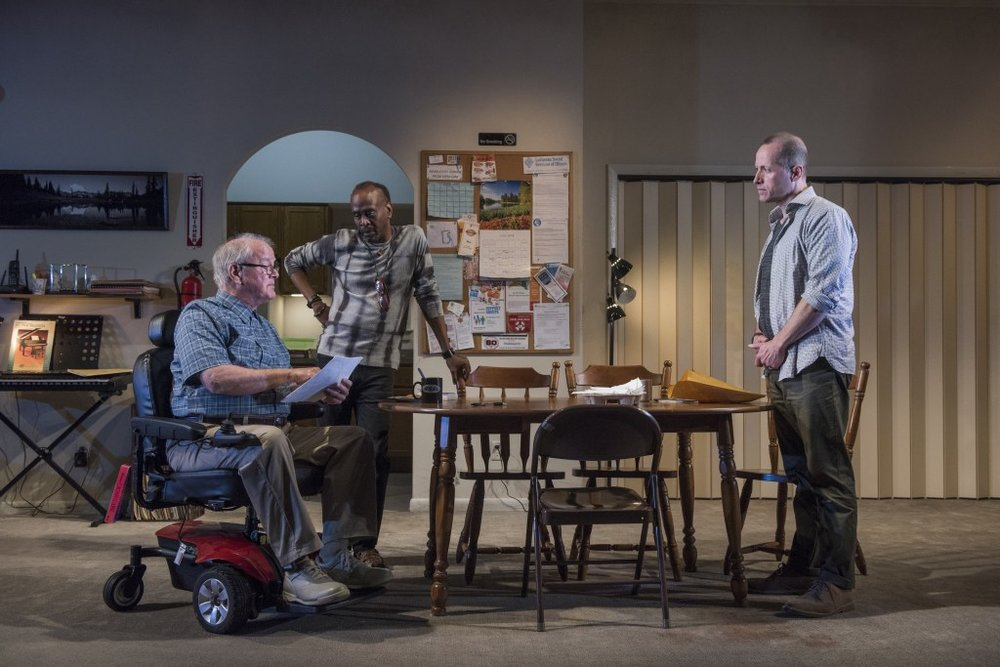 Pictured (L to R) ensemble members Francis Guinan, K. Todd Freeman and Tim Hopper in Steppenwolf's world premiere production of DOWNSTATE. Photo by Michael Brosilow.