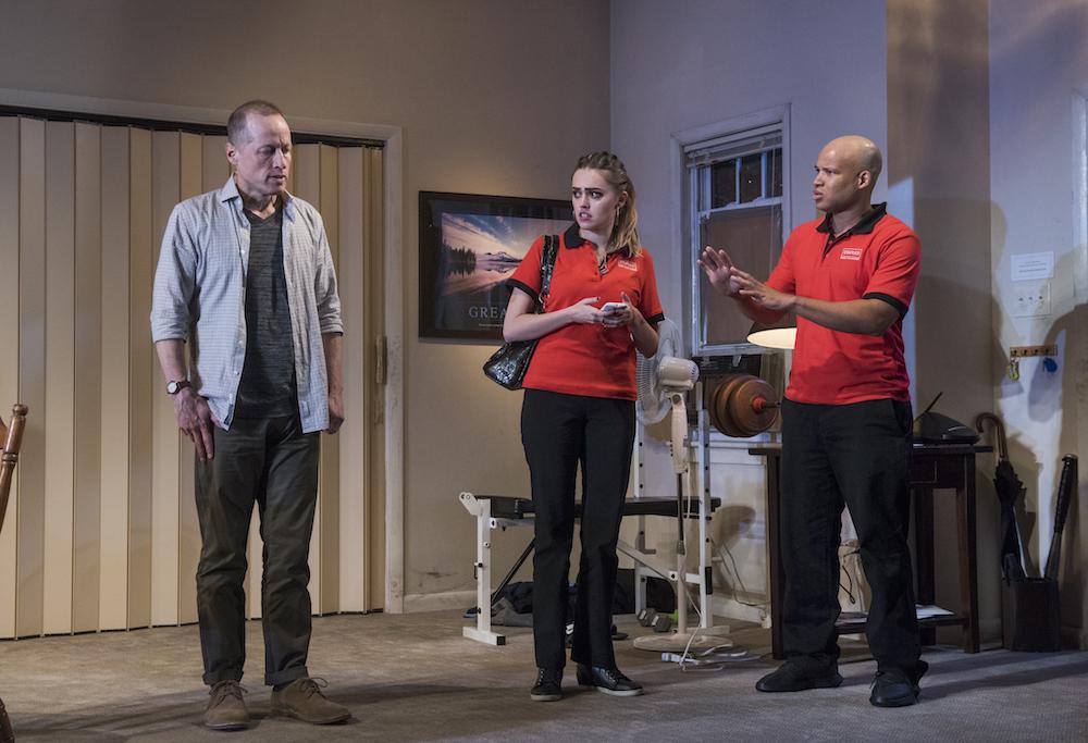 Pictured (L to R) ensemble member Tim Hopper, Aimee Lou Wood and ensemble member Glenn Davis. Photo by Michael Brosilow.