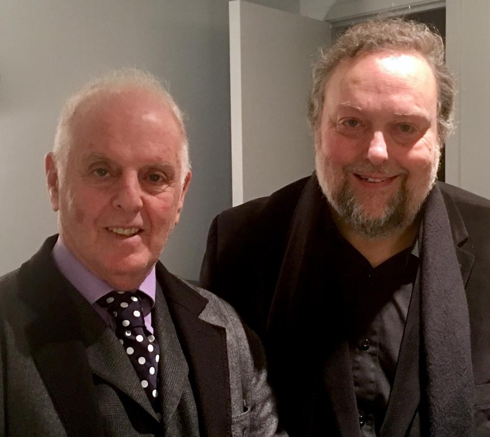 Conductor Daniel Barenboim and music writer Dennis Polkow