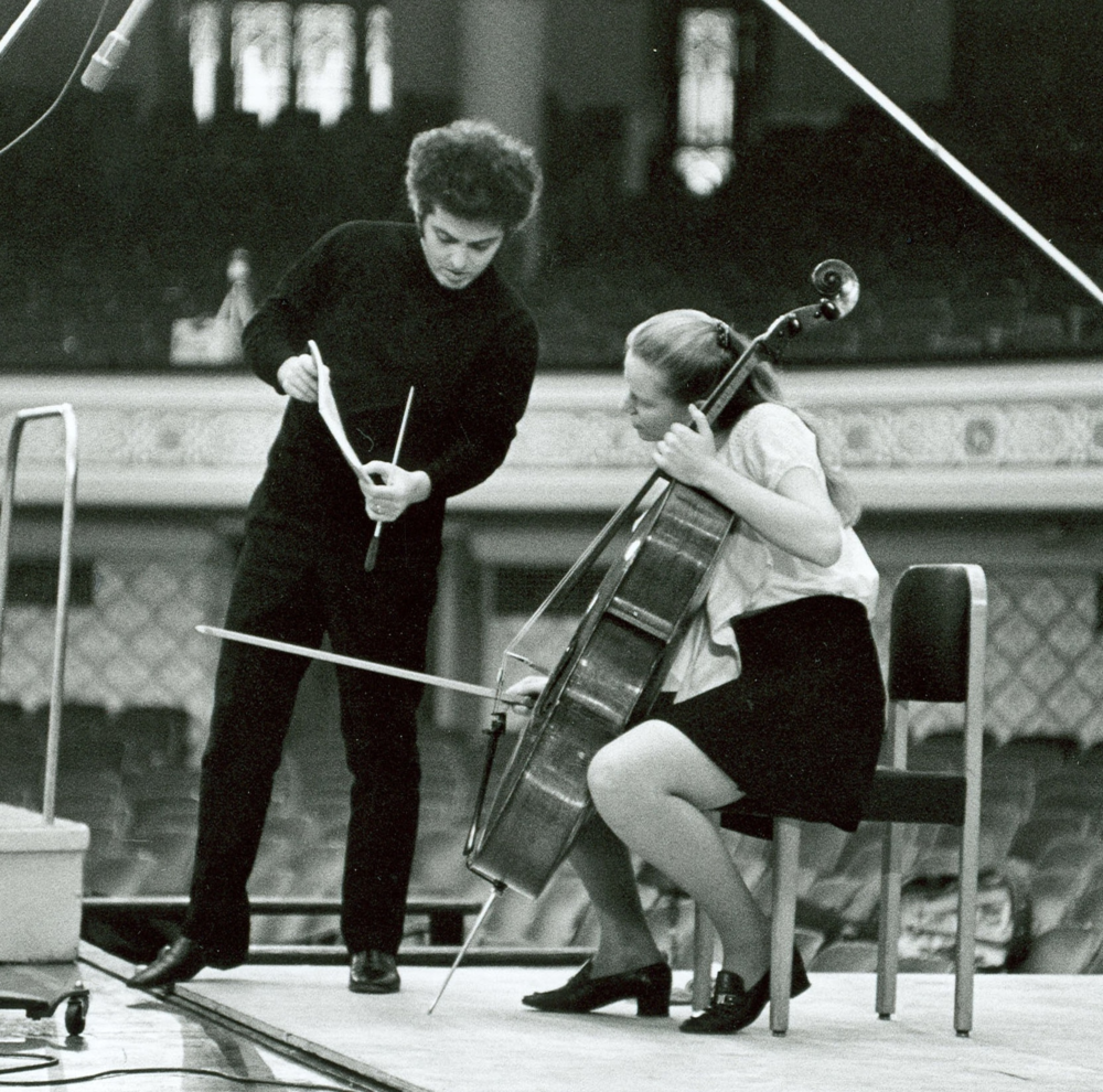 Daniel Barenboim recording with the CSO in 1970. Shown here with his wife Jacqueline du Pré as soloist. Photo by Robert M. Lightfoot III
