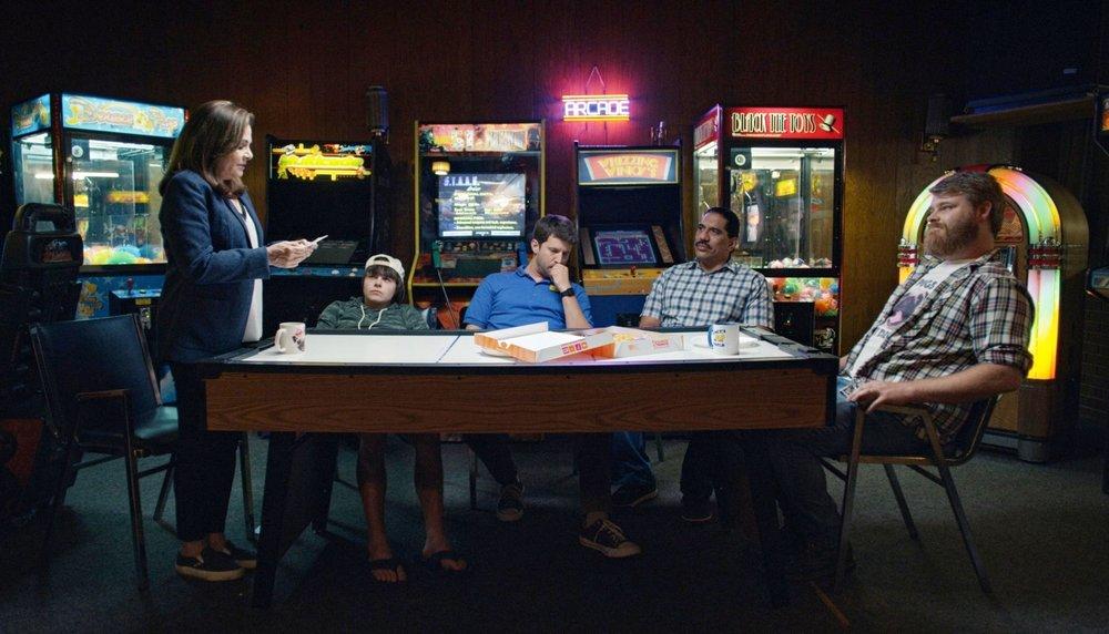 Candi Milo, Brendan Meyer, Jon Heder, Richard Esteras & Steve Berg in WHEN JEFF TRIED TO SAVE THE WORLD.