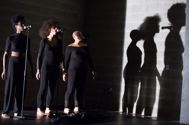 Image of the performers on stage in WHAT REMAINS. Photo © Julieta Cervantes, courtesy Live Arts Bard.