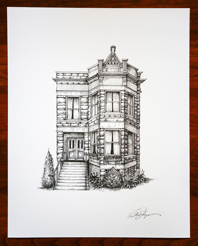 Chicago home portrait by Phil Thompson, Cape Horn Illustration
