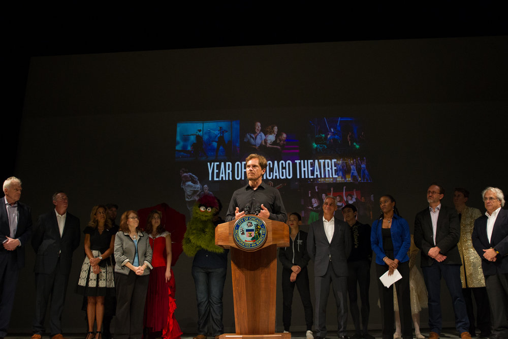 Actor Michael Shannon speaking during Year of Chicago Theatre announcement event