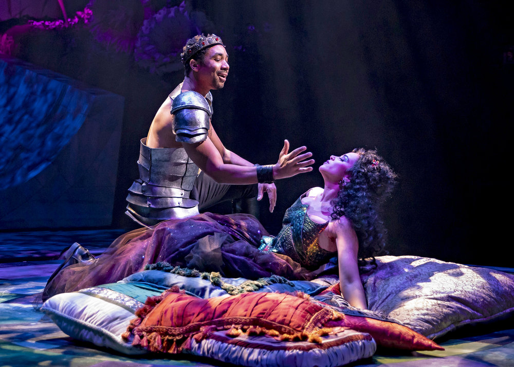 Oberon (Edward O'Blenis) enchants Titania (Alexandra Silber) with a love spell in Chicago Shakespeare Theater's production of  A Midsummer Night's Dream ,. Photo by Liz Lauren.