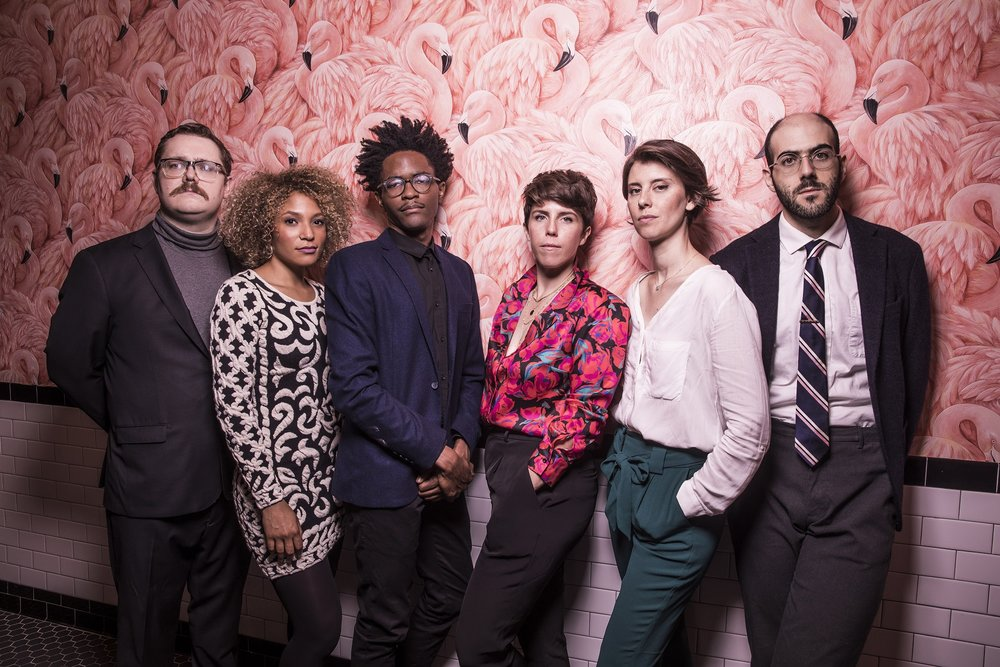 Cast of The Second City's new mainstage revue, ALGORITHM NATION OR THE STATIC QUO