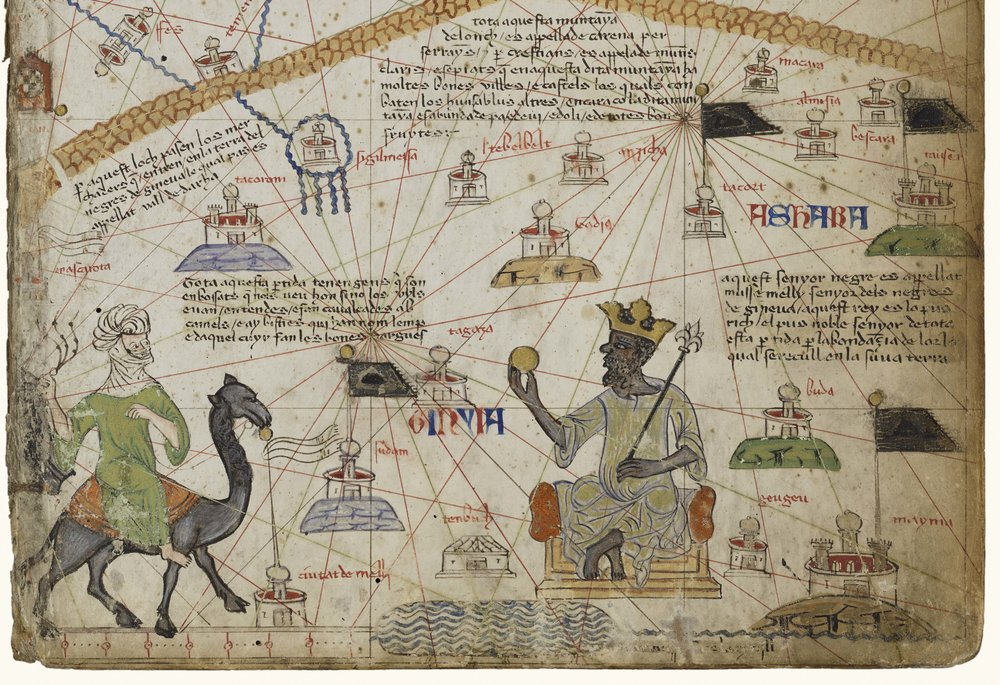 Atlas of Maritime Charts (The Catalan Atlas) [detail of Mansa Musa], Abraham Cresque (1325–1387), 1375, Mallorca. Parchment mounted on six wood panels, illuminated. Bibliothèque nationale de France. Courtesy of the Block Museum.