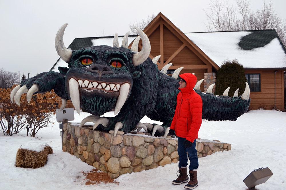 WTTW's Geoffrey Baer with a Rhinelander Hodag in Wisconsin's Northwoods