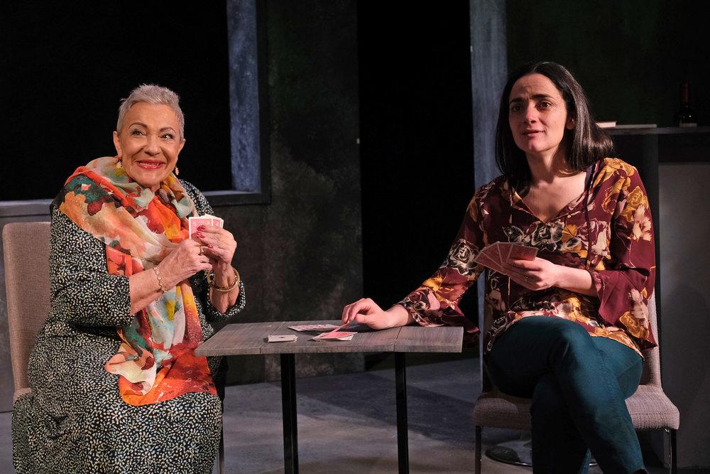 Alba Guerra (left) plays Carolina and Cruz Gonzalez Cadel is Gabriela in Teatro Vista's THE ABUELAS. Photo credit: Joel Maisonet