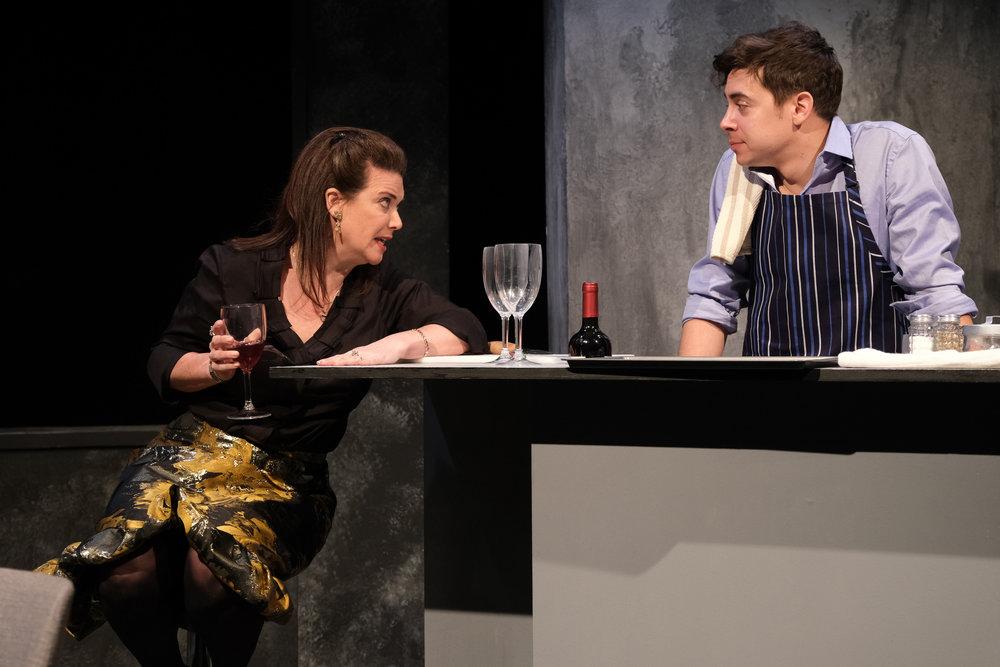 Katie Barberi (left) plays Soledad and Nate Santana is Marty in Teatro Vista's THE ABUELAS. Photo credit: Joel Maisonet