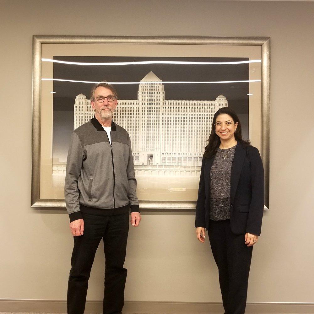 Media designer John Boesche and Art On theMart executive director Cynthia Noble