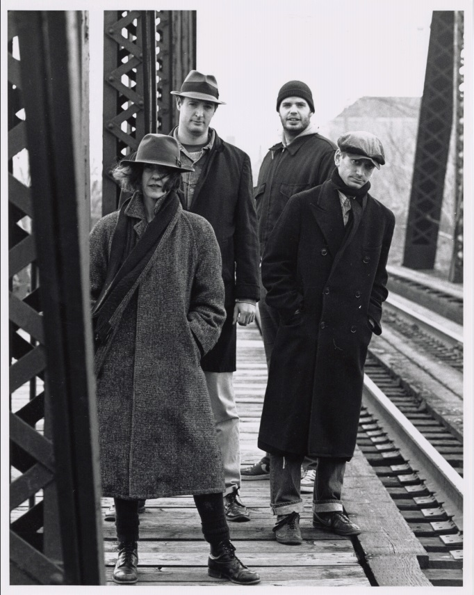 Promo photo of Goat Island. Lin Hixson, Timothy Mc Cain, Greg McCain, Matthew Goulish, photo credit: Tony, 1988. Goat Island Archive, Library and Special Collections, The School of The Art Institute of Chicago.