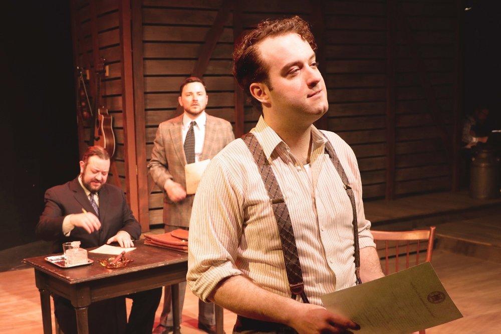 Scott Danielson, Max Kramer, and Josiah Robinson in BoHo Theatre's BRIGHT STAR. Photo credit: Katie Stanley & Cody Jolly