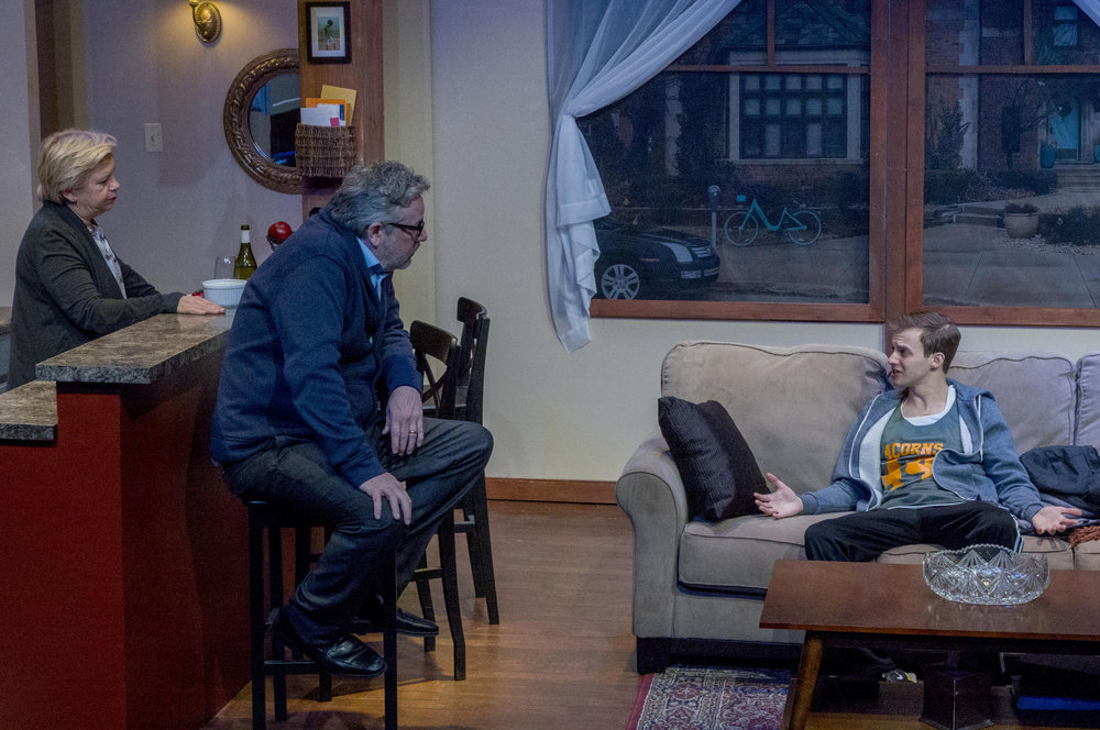 Meighan Gerachis, Stephen Walker, and Kyle Curry in ADMISSIONS. Photo credit: Charles Osgood