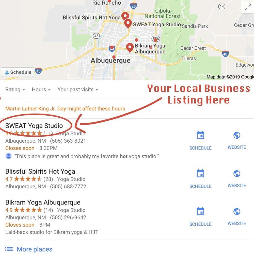 SWEAT yoga studio local business listing