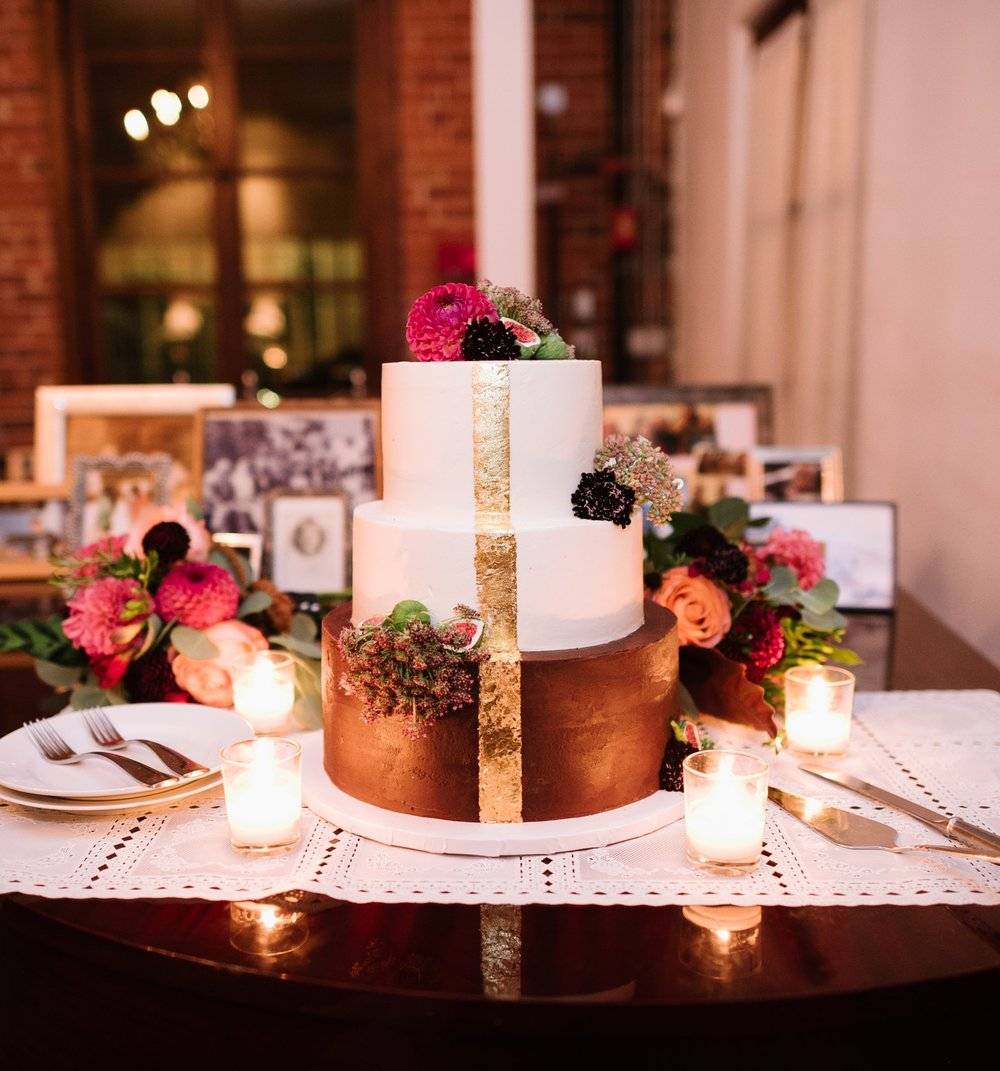 ganache & gold wedding cake, carondelet house in los angeles, shot by hazelnut photo