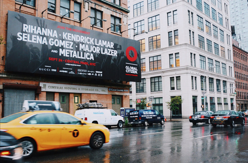 2016 Global Citizen Festival OOH campaign — 10th Ave, New York City