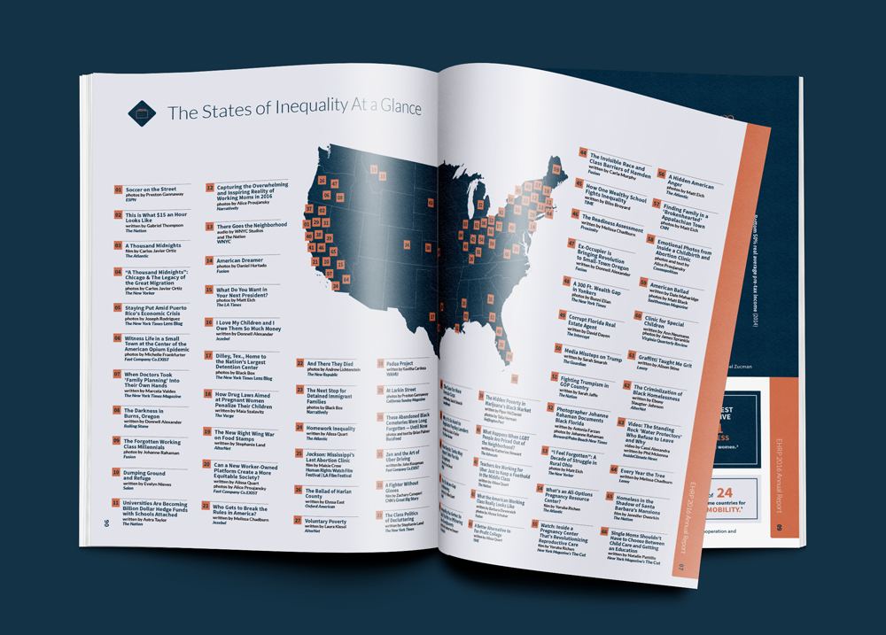Infographic highlighting every story covered by geography in 2016 · from the Annual Report