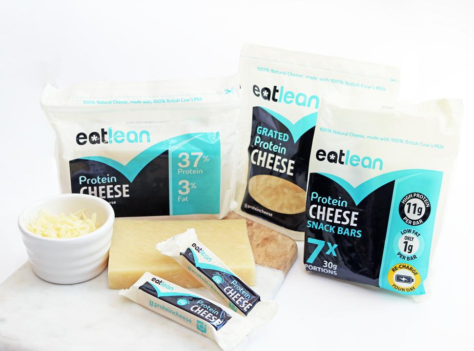 Eatlean per 100g - vs gewone Cheddar...Proteïne 37g( 45% meer)Vet 3g(90% minder)Calorieën 168kcal(55% minder)100% Natuurlijk
