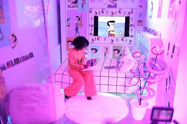 Weekend plans: chill in Judy Jetson's fan-girl bedroom! This is our last weekend in LA but you can still get tickets to the #getanimatedinvasion! Link in bio.