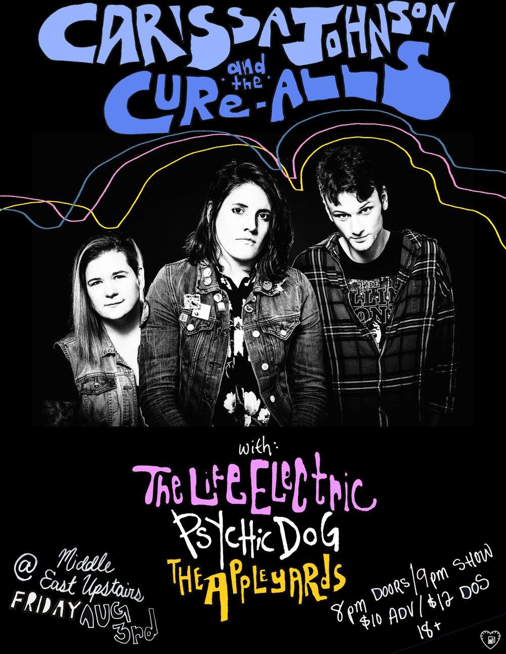August 3rd 2018 at Middle East Upstairs in Cambridge, MA!  Tix:  https://www.ticketweb.com/event/carissa-johnson-the-cure-middle-east-upstairs-tickets/8453485?pl=mideastclub&edpPlParam=%3Fpl%3Dmideastclub