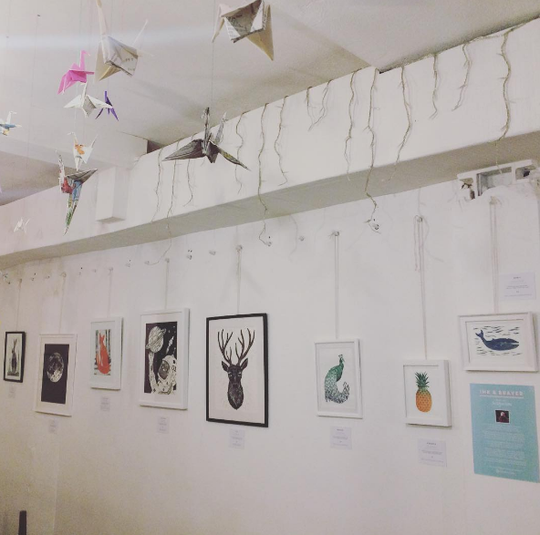 Ink & Brayer prints at an exhibition
