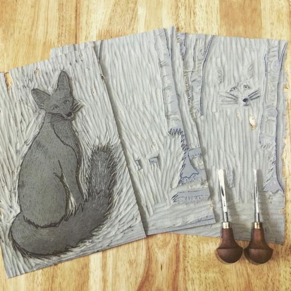 The three fox linocut blocks and my favourite Pfeil tools.