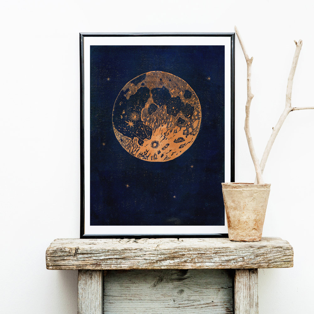 Copper Moon Linocut Print