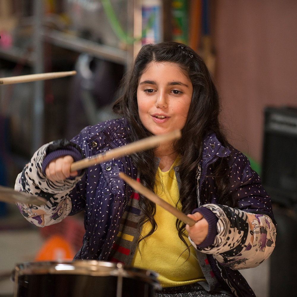 Seanna Pereira, while having a small, decided to take over the drums.