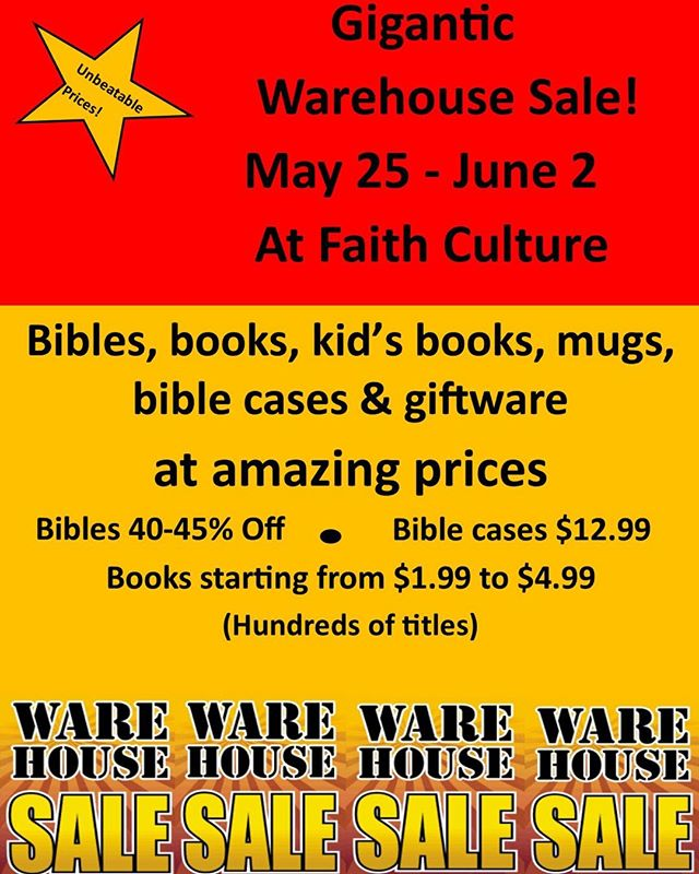 Gigantic warehouse sale! Hundreds of books, bibles, mugs, giftware & so much more at amazing prices!  #warehousesale #shoplocal #sale #inspirationalgifts #events # eventstoronto #faithculturelive #the6ix