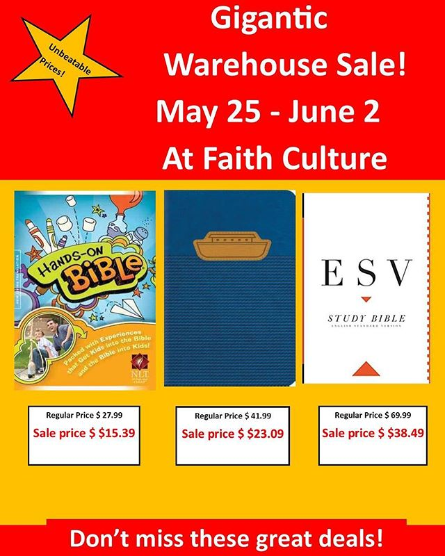 Warehouse Sale! Unbeatable prices...stock up & save! #warehousesale #faithculturelive #gifts #books #bibles #inspirstionalgifts #cafe #eventcenter #eventstoronto #shoplocal