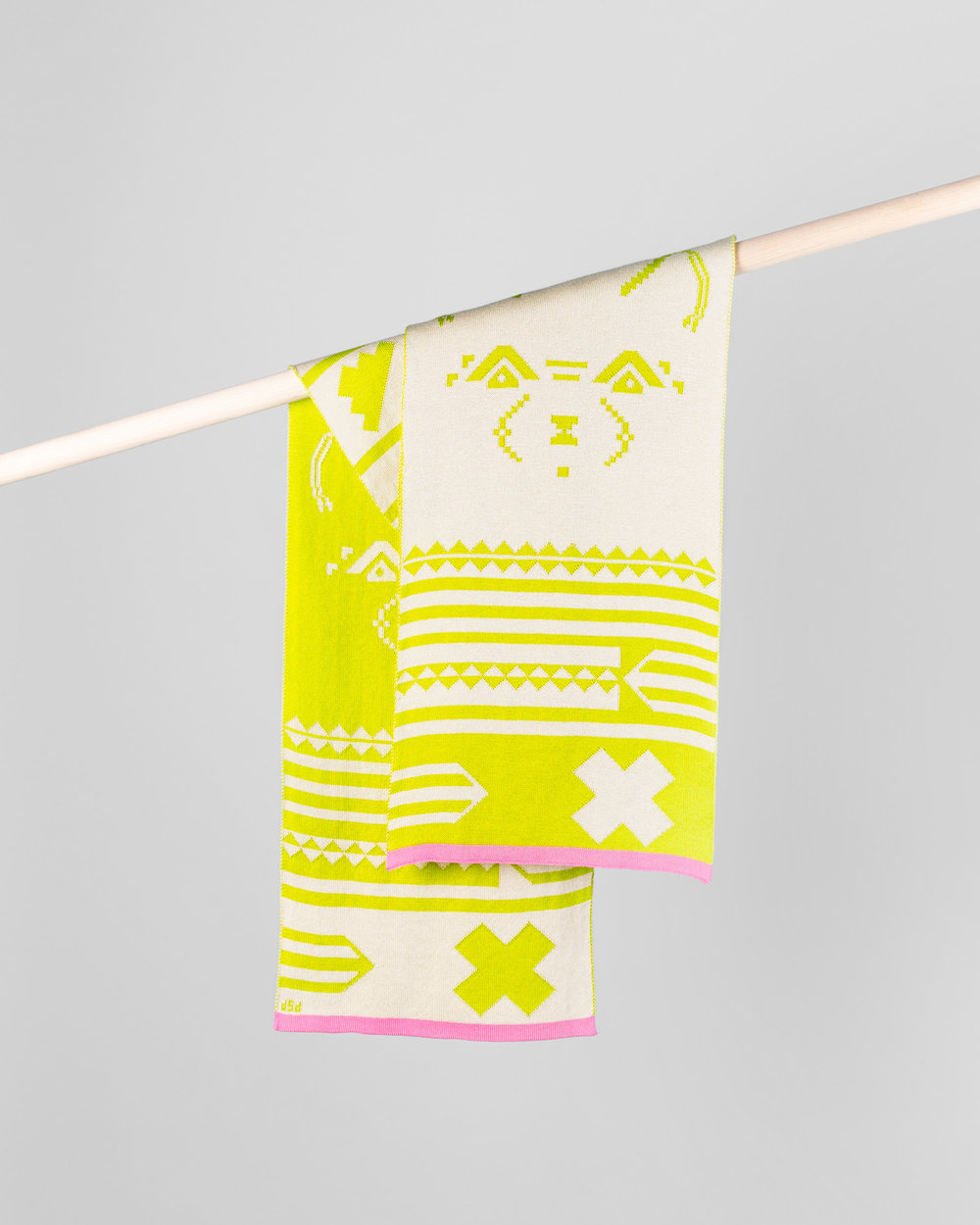 BIG DOG SCARF - CREAM & LIME