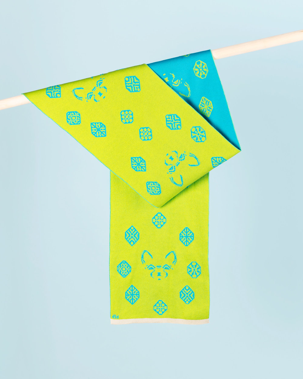DIAMOND DOG SCARF - LIME & TURQUOISE